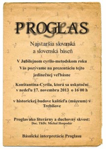 Duchovný skvost, najstaršia slovanská báseň PROGLAS zaznie v trebišovskom kaštieli